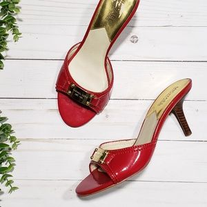 Michael Kors Slide Sandals Heels Red